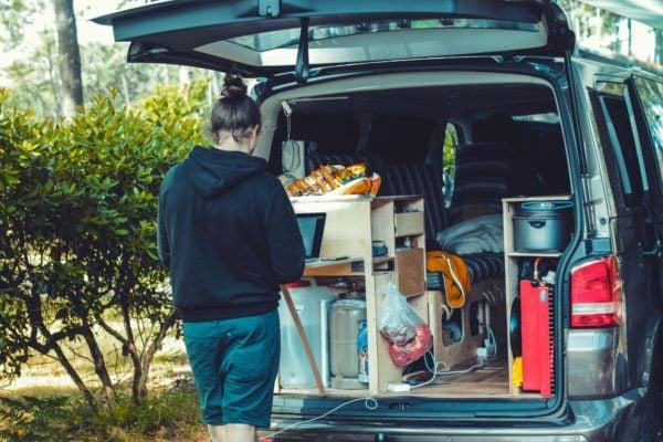 Working in the back of aCamper Van