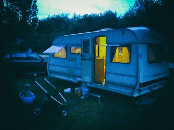 Caravan in Campsite at Night