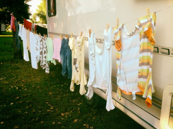 Hanging Laundry at Campsite