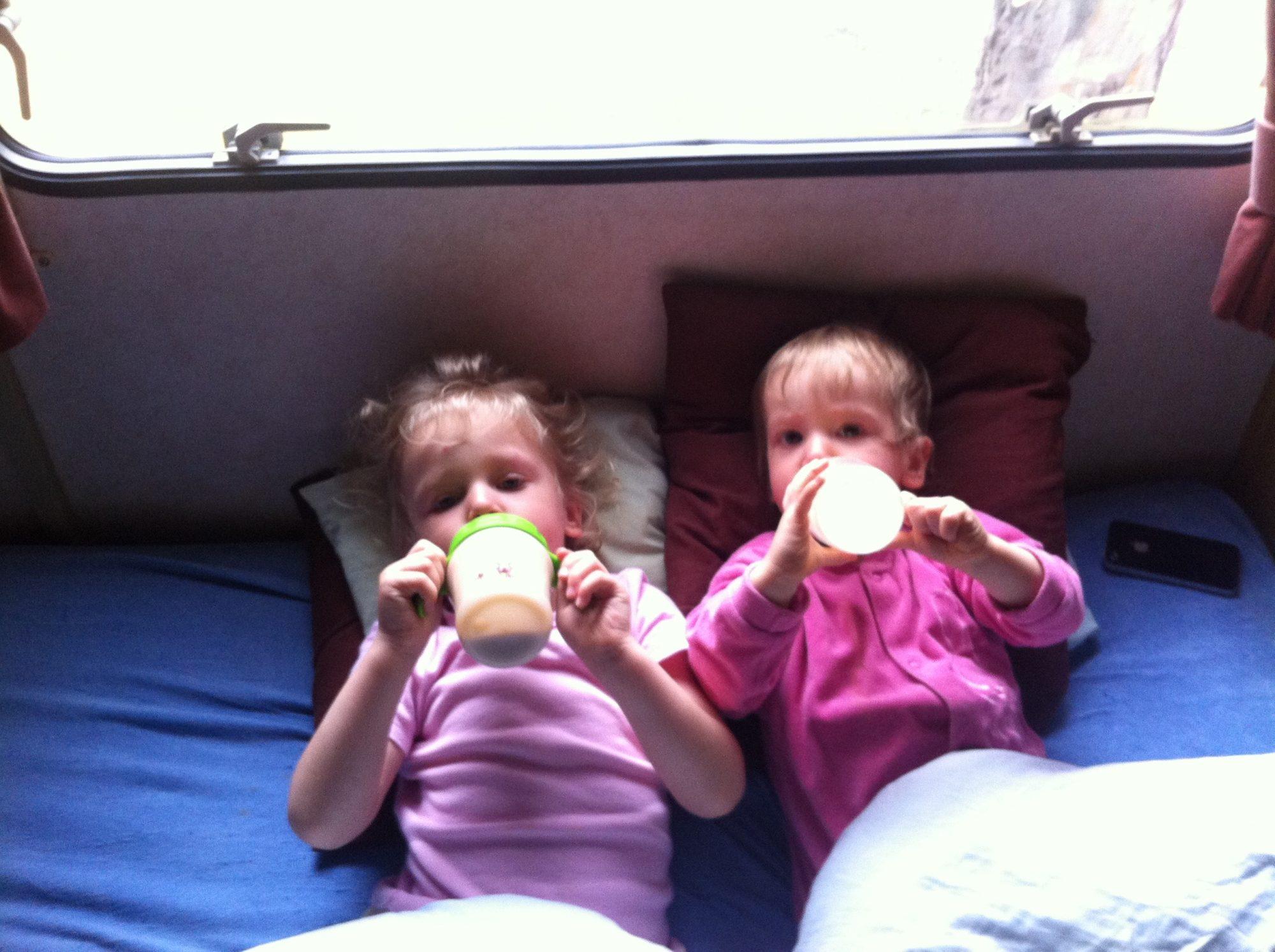 Our girls drinking milk