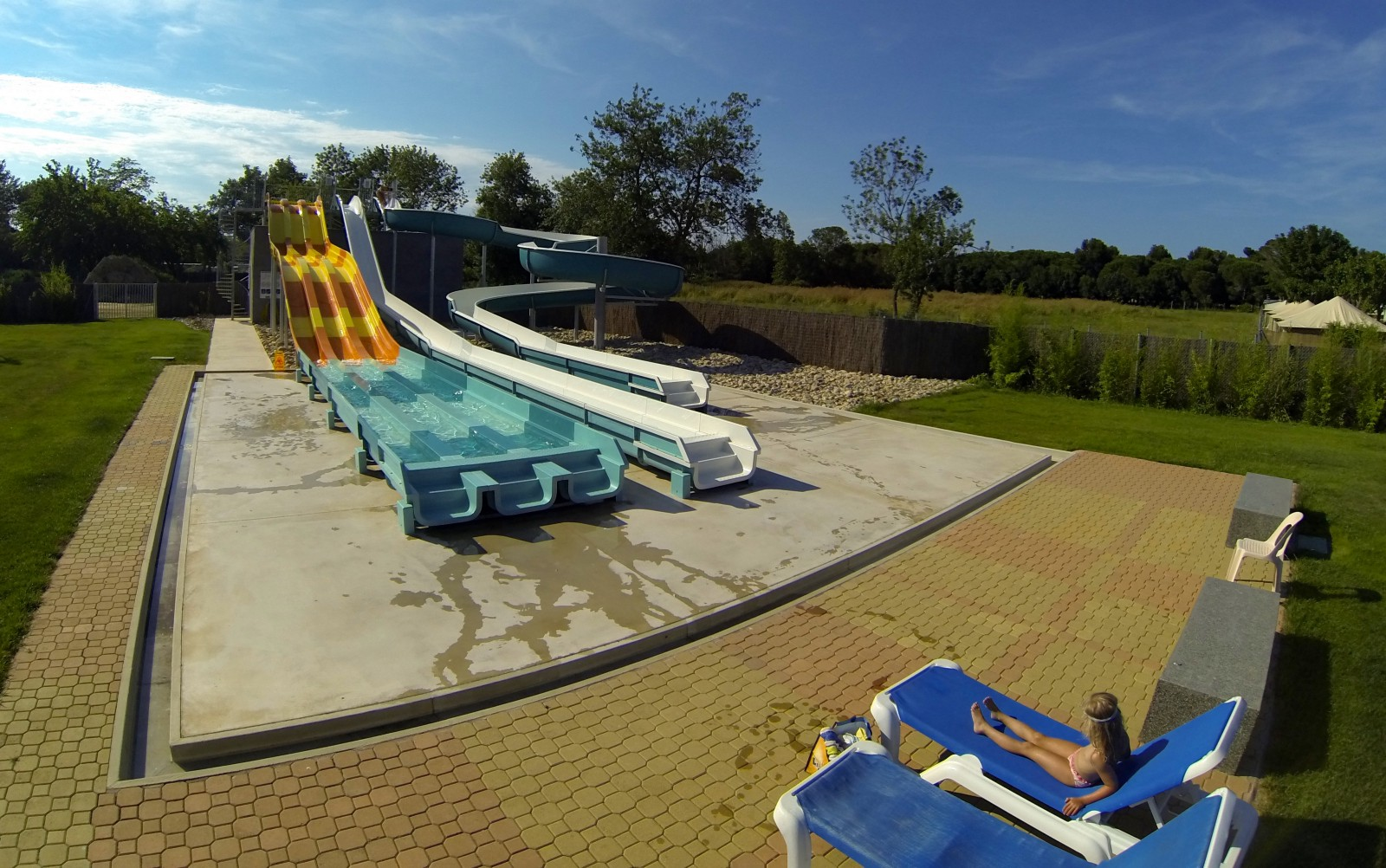 Les Marsouins—a huge campsite with it's own grocery store, pool & slides