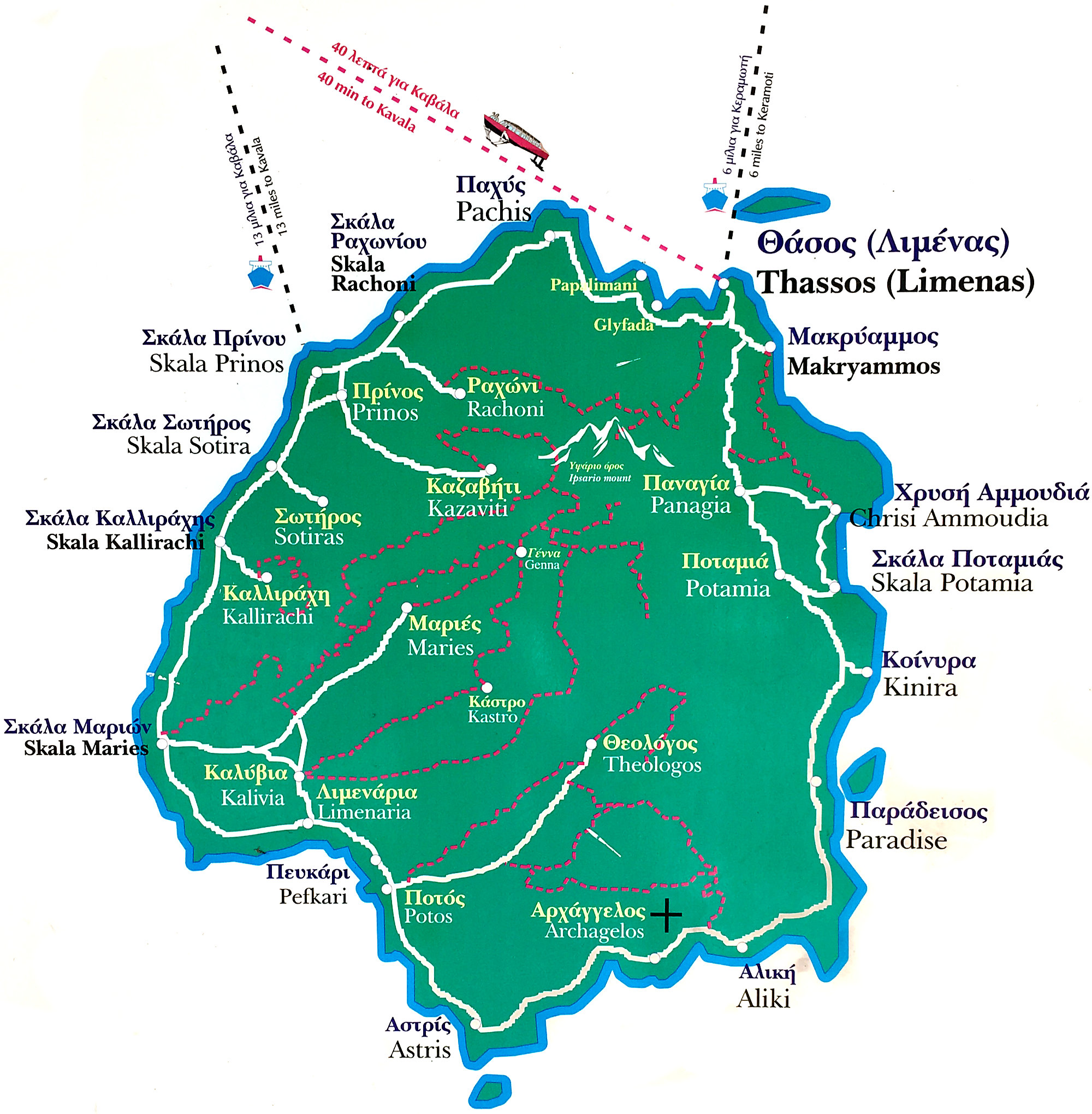 Thassos map of the island
